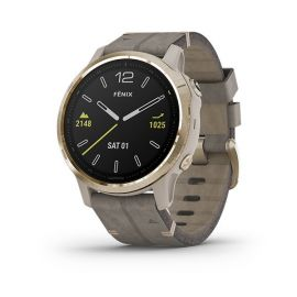 Garmin Fenix 6S Sapphire - Gold-tone with Gray Leather Band