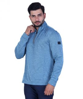 Greg Norman Men's Space Dyed Fleece Warm Layer Pullover Blue